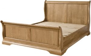 Normandy French Solid Oak 4'6″ Double High Foot End Sleigh Bed
