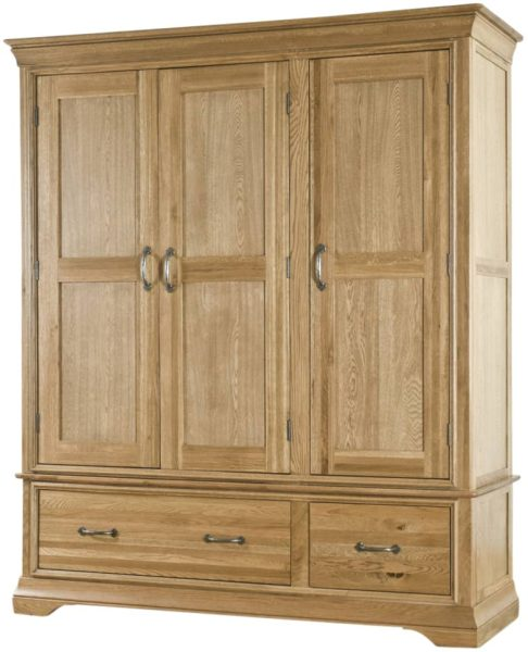 Normandy French Solid Oak Triple Wardrobe with Drawers