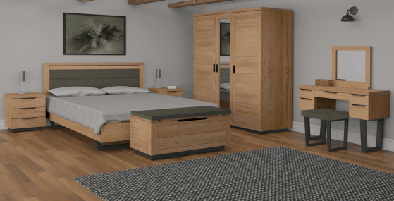 Classic Fusion Industrial Oak 3 Drawer Bedside Cabinet