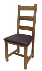 Suffolk Solid Oak Ladder Back Dining Chair (Pair) | Fully Assembled