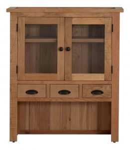 Besp-Oak Vancouver Sawn Oak Hutch with 4 Drawers & 2 Doors (Top Only) | Fully Assembled