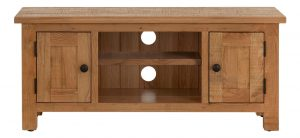 Besp-Oak Vancouver Sawn Oak 2 Door TV Unit with a Shelf | Fully Assembled