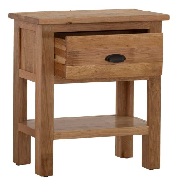 Besp-Oak Vancouver Sawn Oak 1 Drawer Console Hall Table | Fully Assembled