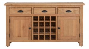 Besp-Oak Vancouver Sawn Oak 3 Drawer 2 Door Sideboard | Fully Assembled