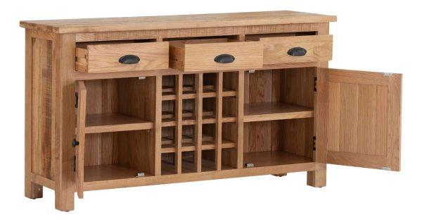 Besp-Oak Vancouver Sawn Oak 3 Drawer 2 Door Sideboard | Fully Assembled