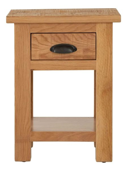 Besp-Oak Vancouver Sawn Oak Side Lamp Table with 1 Drawer | Fully Assembled