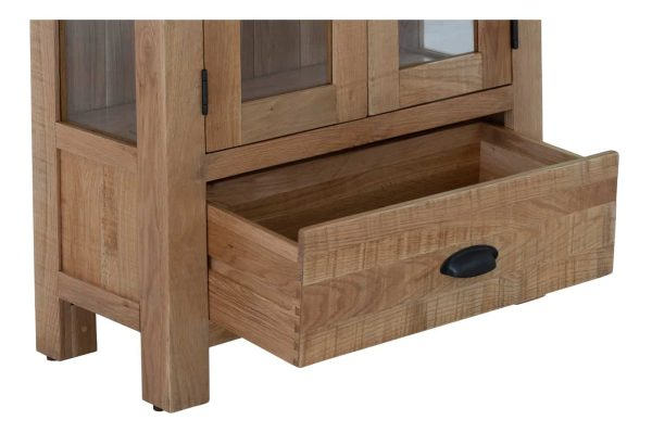 Besp-Oak Vancouver Sawn Oak 2 Door 1 Drawer Glazed Display Cabinet | Fully Assembled