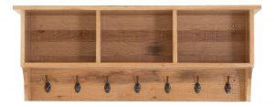 Besp-Oak Vancouver Sawn Oak Coat Rack with Shelves | Fully Assembled