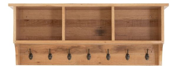 Besp-Oak Vancouver Sawn Oak Coat Rack with Shelves | Fully Assembled