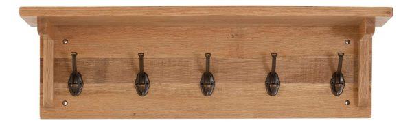 Besp-Oak Vancouver Sawn Oak Coat Rack with 5 Hooks | Fully Assembled