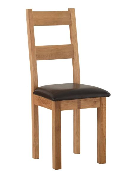 Besp-Oak Vancouver Sawn Oak Dining Chair with Leather Seat (Pack of 2 Chairs) | Fully Assembled