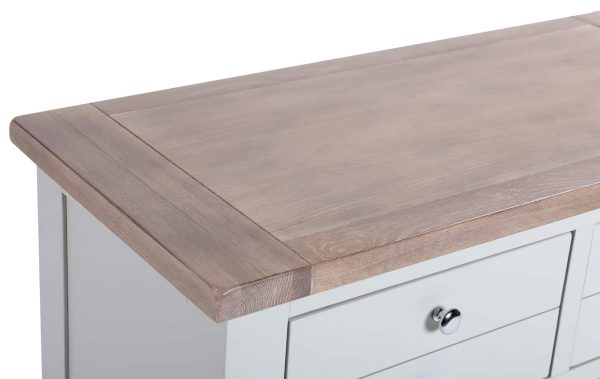 Besp-Oak Vancouver Chalked Oak & Light Grey 4 Drawer 2 Door Hutch (Top Only) | Fully Assembled