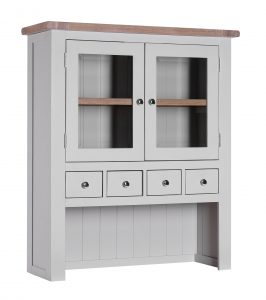 Besp-Oak Vancouver Chalked Oak & Light Grey 4 Drawer 2 Door Hutch (Top Only) | Fully Assembled