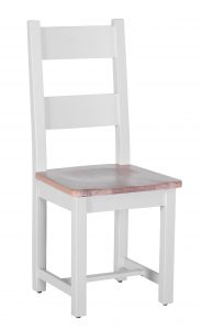 Besp-Oak Vancouver Chalked Oak & Light Grey Horizontal Slats Dining Chair with Timber Seat (Pair) | Fully Assembled