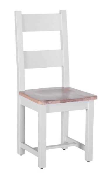 Besp-Oak Vancouver Chalked Oak & Light Grey Horizontal Slats Dining Chair with Timber Seat (Pair)   Fully Assembled