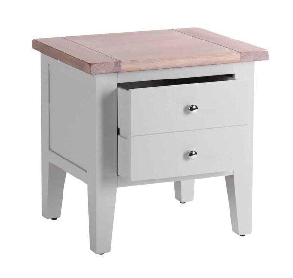 Besp-Oak Vancouver Chalked Oak & Light Grey 1 Drawer Lamp Table | Fully Assembled