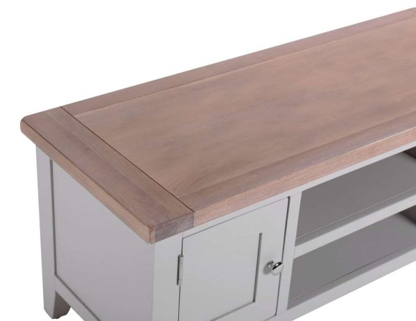 Besp-Oak Vancouver Chalked Oak & Light Grey 2 Door 1 Shelf TV Unit | Fully Assembled