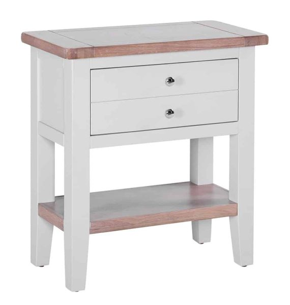 Besp-Oak Vancouver Chalked Oak & Light Grey 1 Drawer Console Hall Table