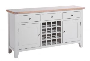 Besp-Oak Vancouver Chalked Oak & Light Grey 3 Drawer 2 Door Wine Sideboard | Fully Assembled