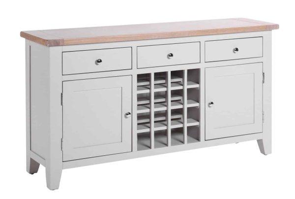 Besp-Oak Vancouver Chalked Oak & Light Grey 3 Drawer 2 Door Wine Sideboard   Fully Assembled