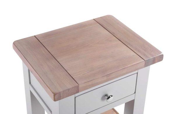 Besp-Oak Vancouver Chalked Oak & Light Grey 1 Drawer 1 Shelf Bedside Table | Fully Assembled