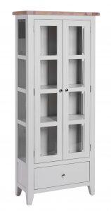 Besp-Oak Vancouver Chalked Oak & Light Grey 1 Drawer 2 Door Glazed Display Cabinet | Fully Assembled