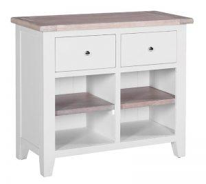 Besp-Oak Vancouver Chalked Oak & Light Grey Sideboard with 2 Drawers & 2 Shelves | Fully Assembled