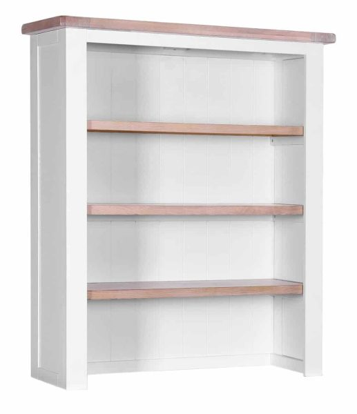 Besp-Oak Vancouver Chalked Oak & Light Grey Hutch with 3 Shelves (Top Only) | Fully Assembled
