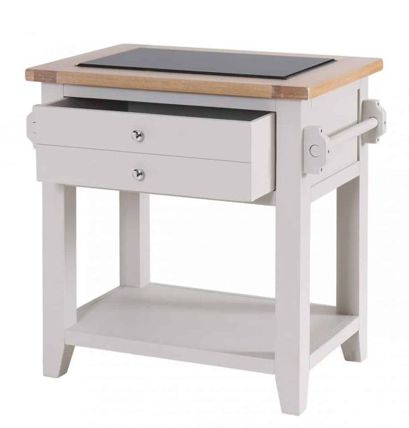 Besp-Oak Vancouver Chalked Oak & Light Grey Small Granite Top Kitchen Island Unit | Fully Assembled
