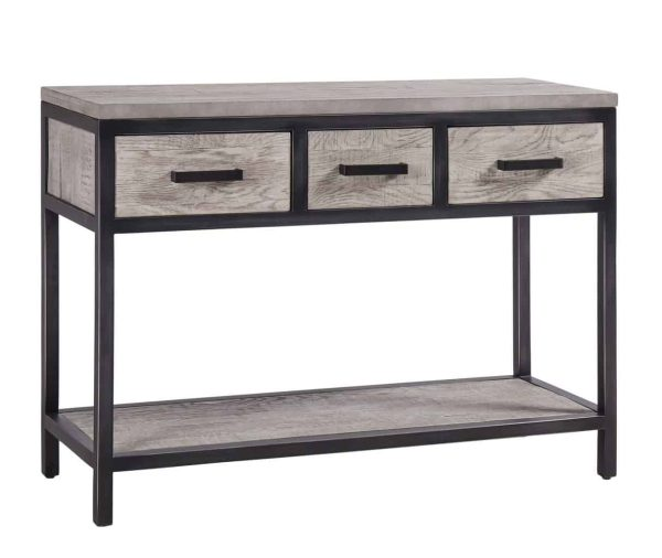 Besp-Oak Forge Iron and Weathered Oak Hall Table with 3 Drawers and Oak Shelf