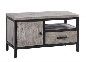Besp-Oak Forge Iron and Weathered Oak TV Unit 1 Door & 1 Drawer | Fully Assembled