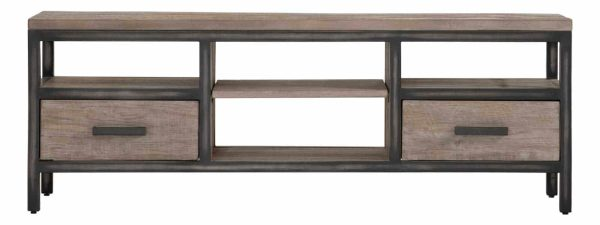 Besp-Oak Forge Iron and Weathered Oak Large TV Unit With Drawers | Fully Assembled