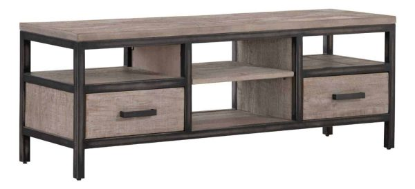 Besp-Oak Forge Iron and Weathered Oak Small TV Unit With Drawers | Fully Assembled