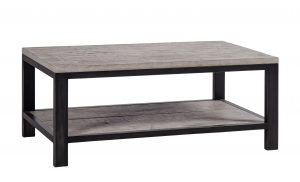 Besp-Oak Forge Iron and Weathered Oak Coffee Table With Shelf