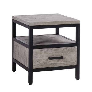 Besp-Oak Forge Iron and Weathered Oak 1 Drawer Side Table | Fully Assembled