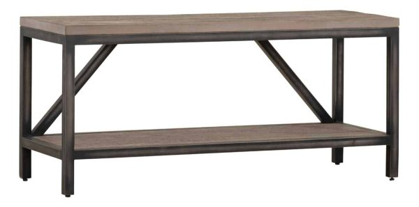 Besp-Oak Forge Iron and Weathered Oak Hall Bench | Fully Assembled