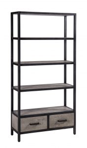 Besp-Oak Forge Iron and Weathered Oak Bookcase with 2 Drawers | Fully Assembled