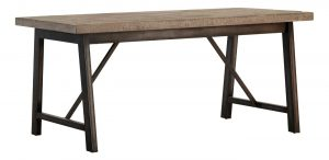 Besp-Oak Forge Iron and Weathered Oak Dining Table