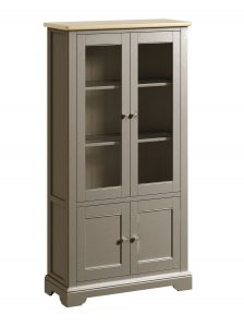 Classic Harmony Painted Pewter Display Cabinet | Fully Assembled