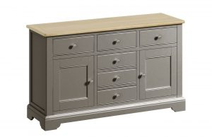 Classic Harmony Painted Pewter 2 Door 6 Drawer Sideboard | Fully Assembled