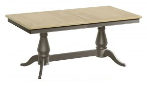 Classic Harmony Painted Pewter Twin Pedestal Extending Dining Table