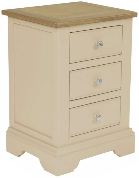 Harmony Painted Cobblestone 3 Drawer Bedside Cabinet