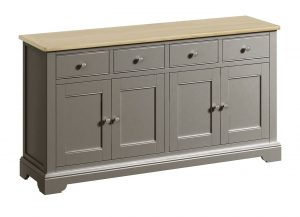 Classic Harmony Painted Pewter 4 Door Sideboard | Fully Assembled