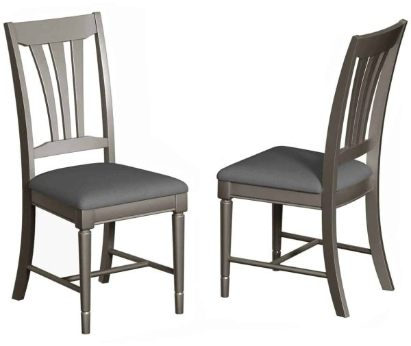 Classic Harmony Painted Pewter Dining Chair (Pair)