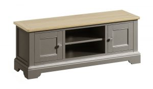 Classic Harmony Painted Pewter Large TV Cabinet | Fully Assembled