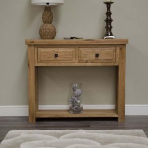 Homestyle Deluxe Solid Oak 2 Drawer Hall Table | Fully Assembled