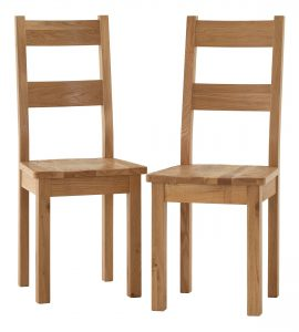 Besp-Oak Vancouver Sawn Oak Dining Chair with Wooden Seat (Pack of 2 Chairs) | Fully Assembled