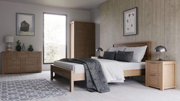 Laguna Oak 2 Drawer Bedside Cabinet | Fully Assembled