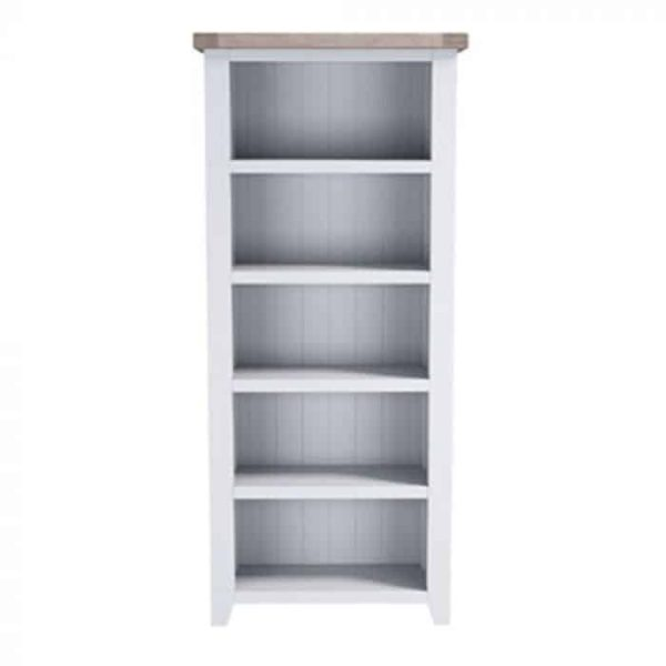 Hampshire Light Grey With Chalked Oak Tops Large Bookcase | Fully Assembled