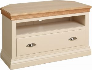 Lundy Painted Ivory With Oak Top  Corner TV Cabinet | Fully Assembled